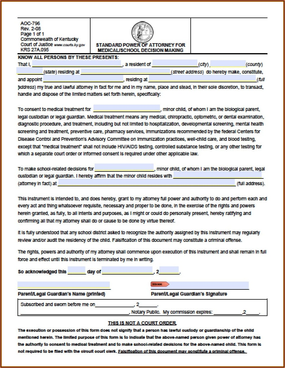 Kentucky Full Power Of Attorney Form Free