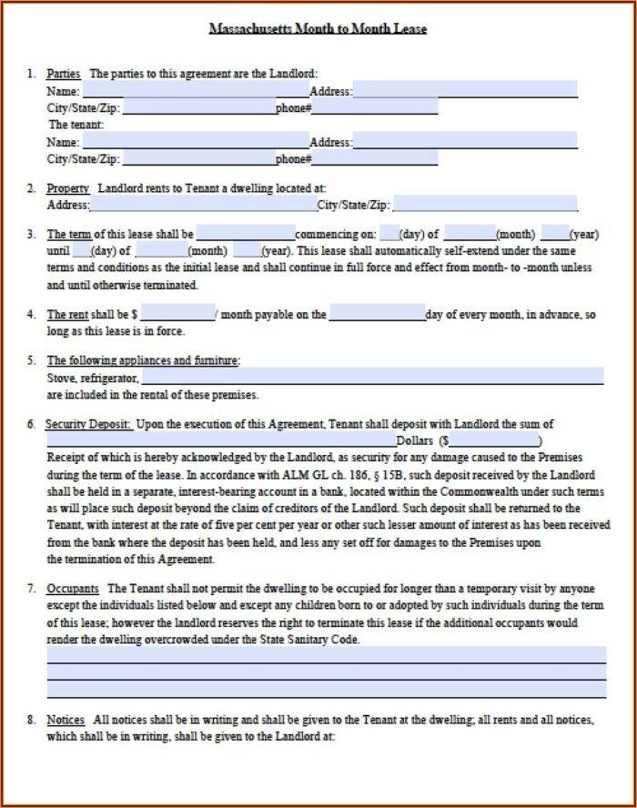 Landlord Lease Template Ma