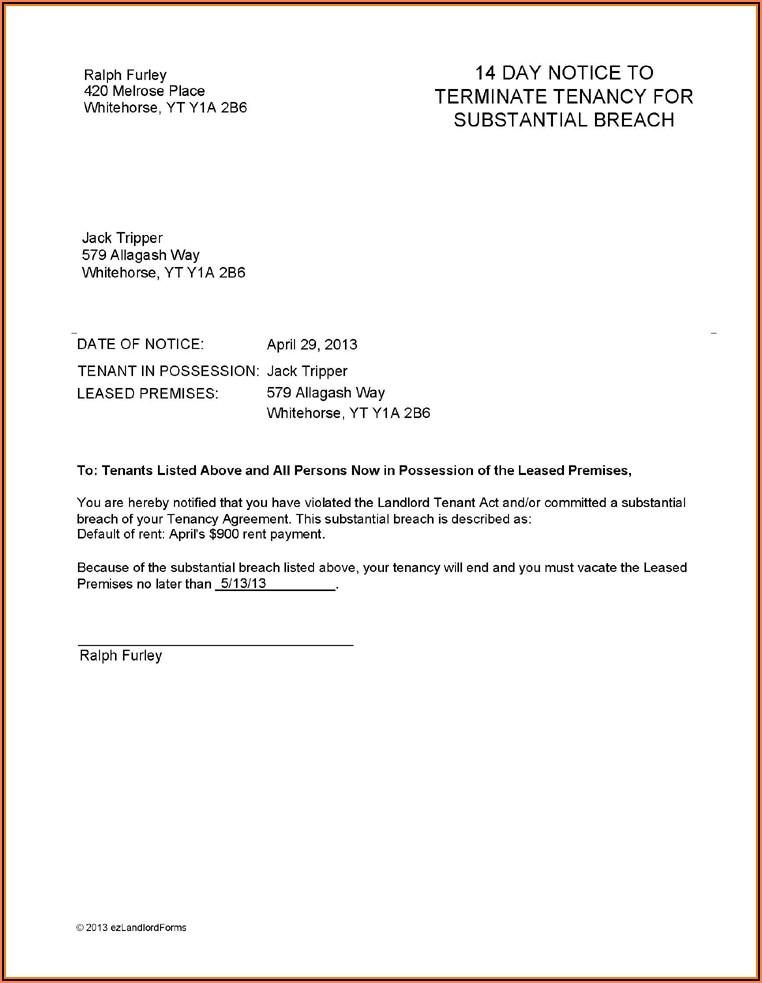 Landlord Sample Lease Termination Letter