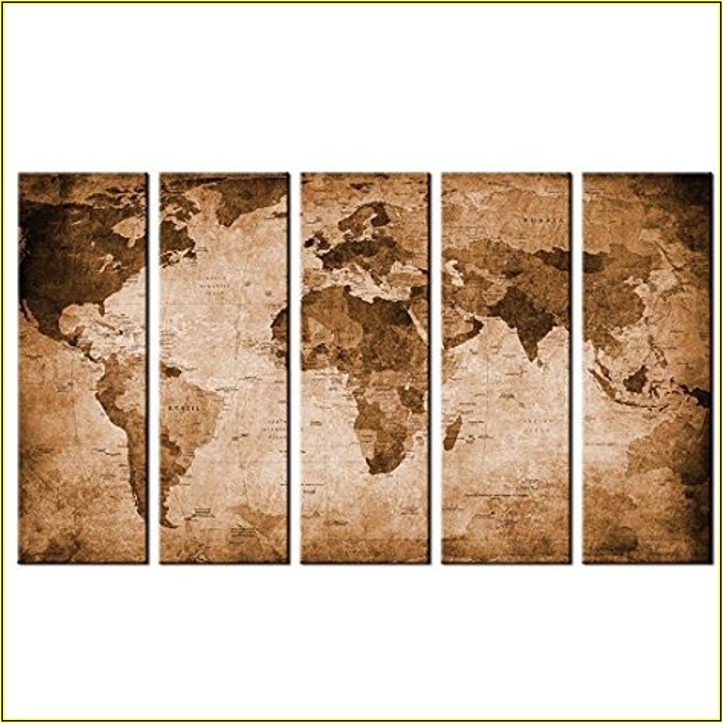 Large Framed World Map Picture
