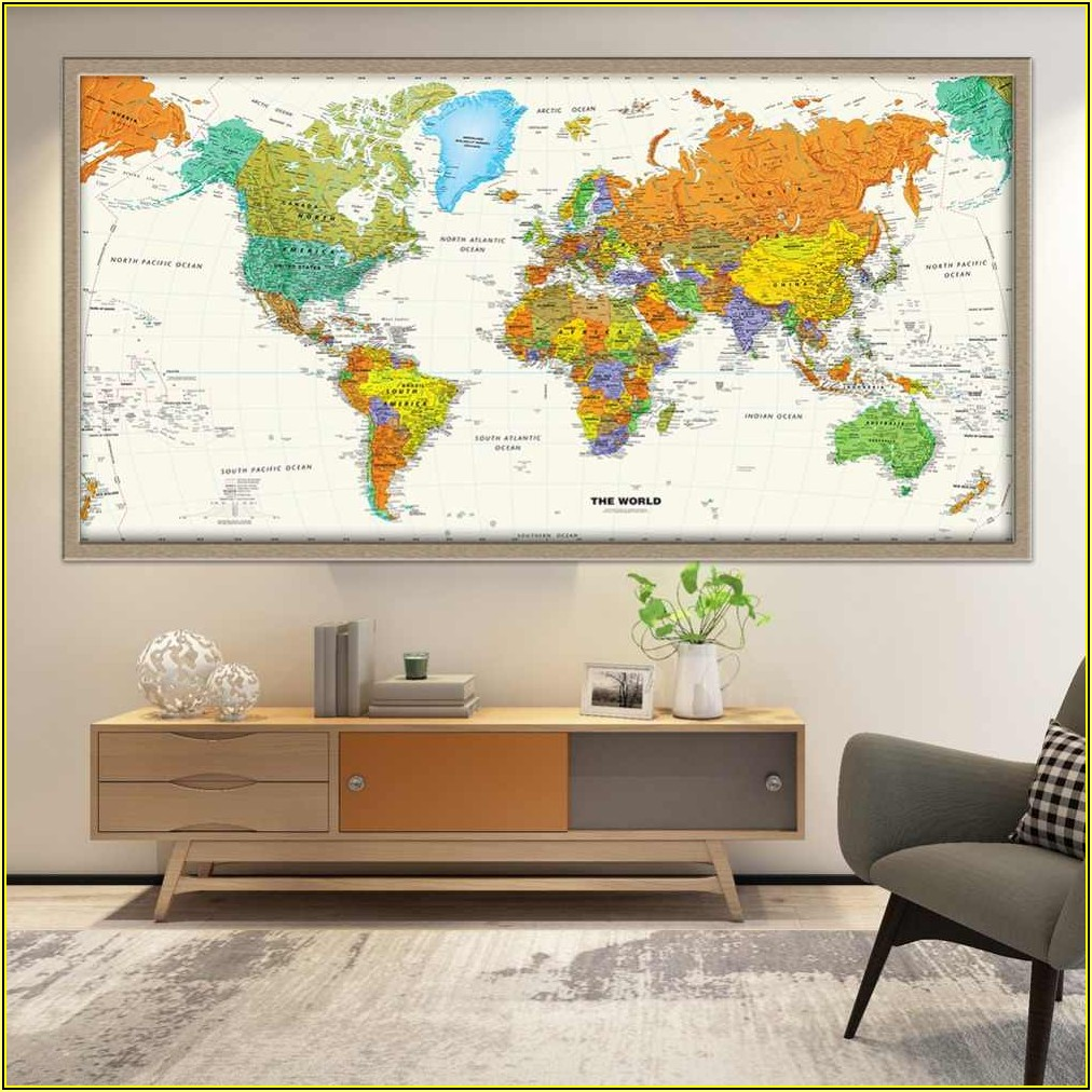 Large Framed World Maps For Sale