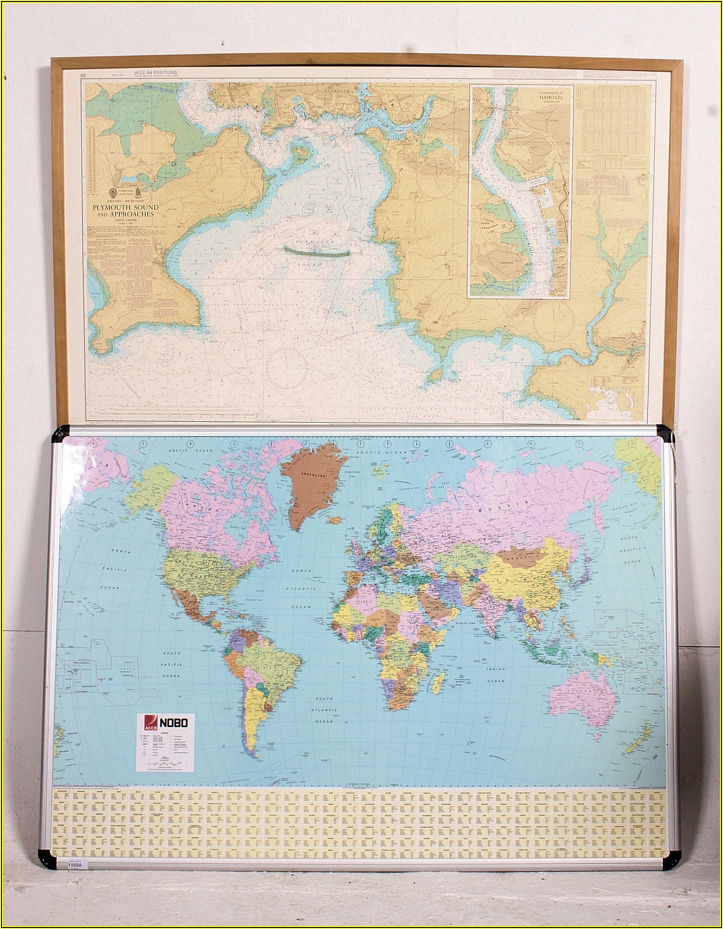 Large Framed World Maps