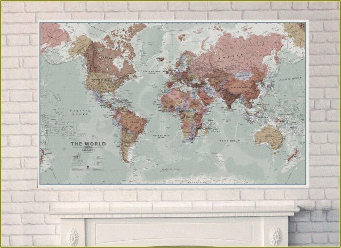 Large Laminated Map Of The World