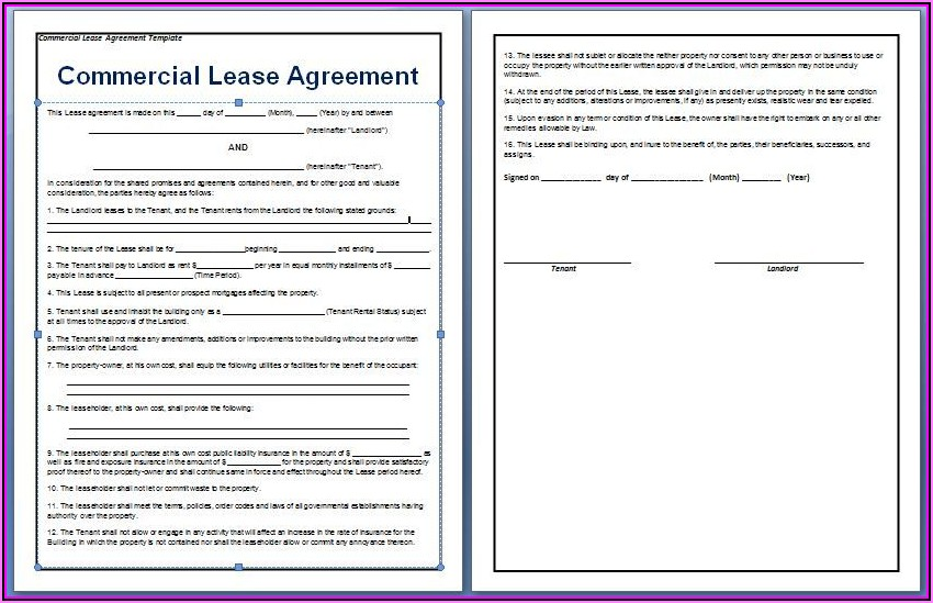 Lease Agreement For Office Space Template
