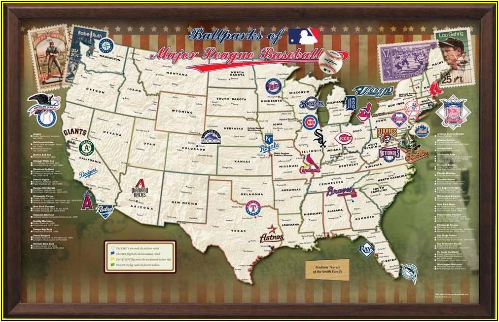 Major League Baseball Map Track Your Stadium Quest