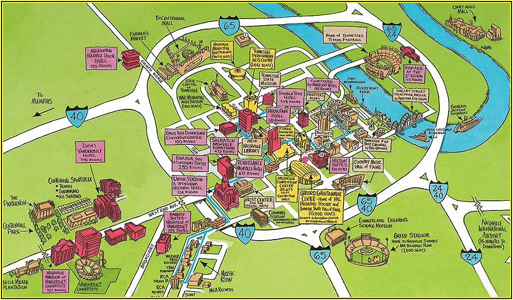 Map Of Hotels Near Nashville Tn Airport