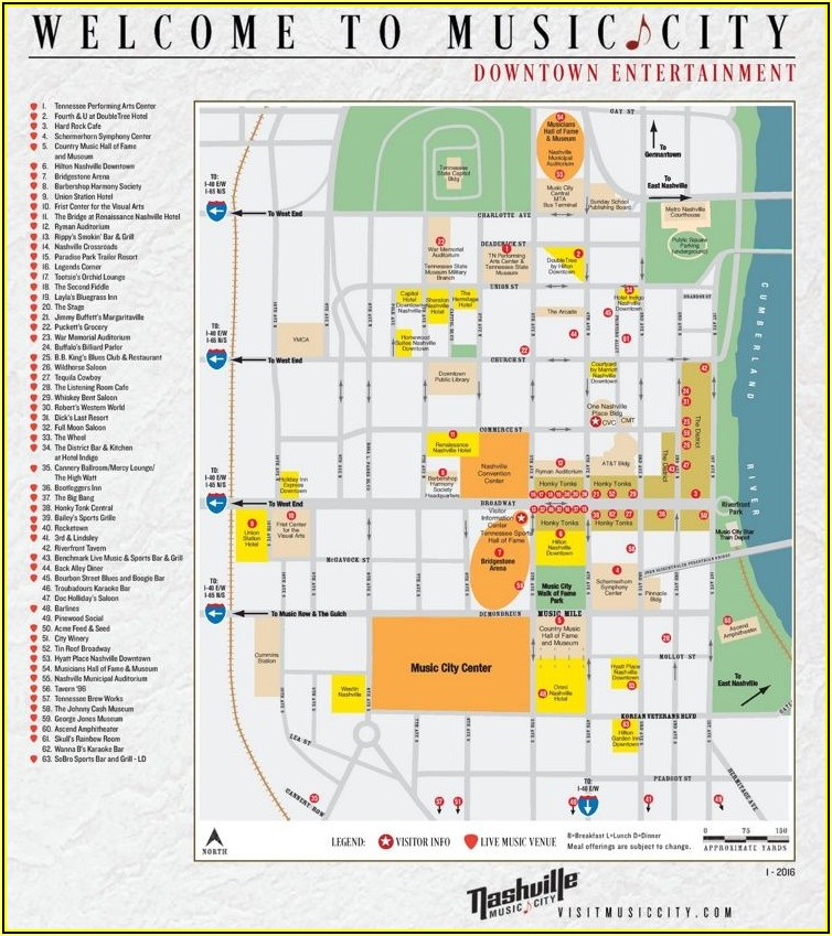 Map Of Hotels On Music Row Nashville Tn