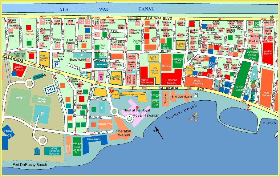 Map Of Hotels On Waikiki Beach Oahu