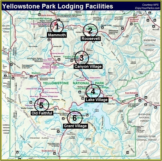 Map Of Lodging Yellowstone National Park