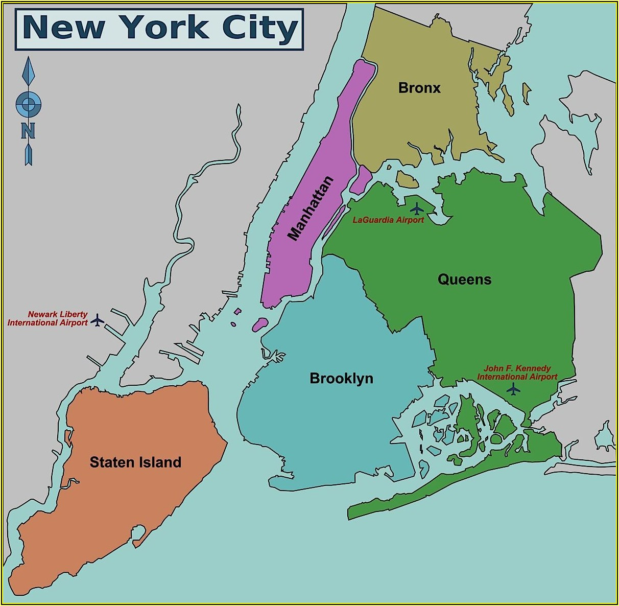 Map Of New York City 5 Boroughs