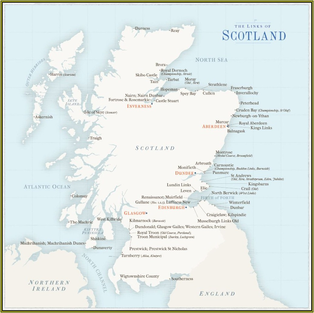 Map Showing Scottish Golf Courses