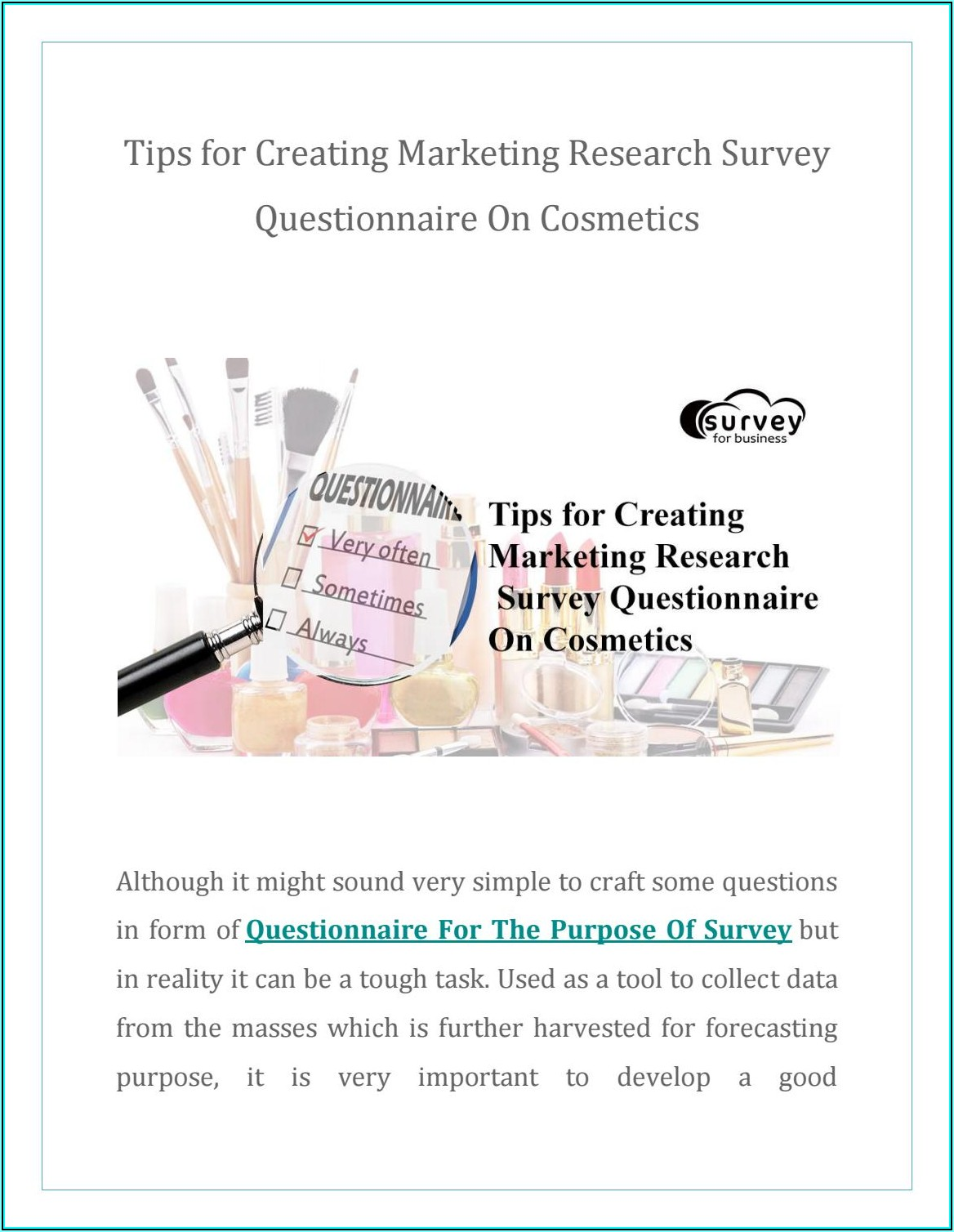 Marketing Research Survey Questionnaire On Cosmetics
