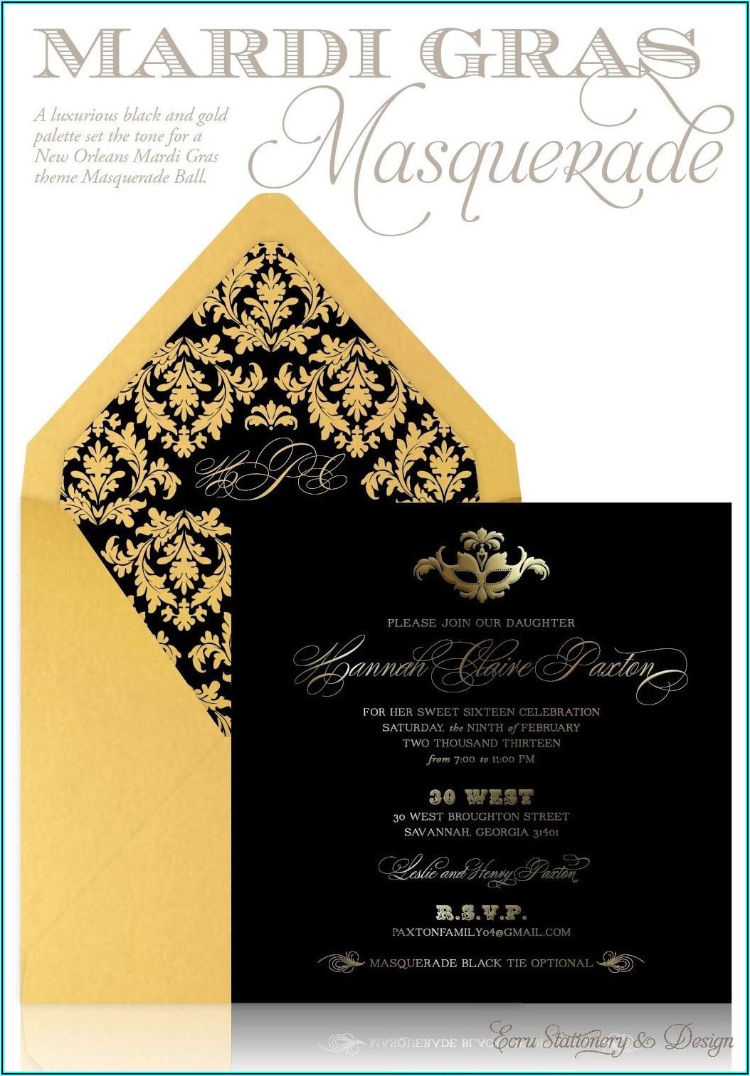 Masquerade Ball Invitations Free Templates