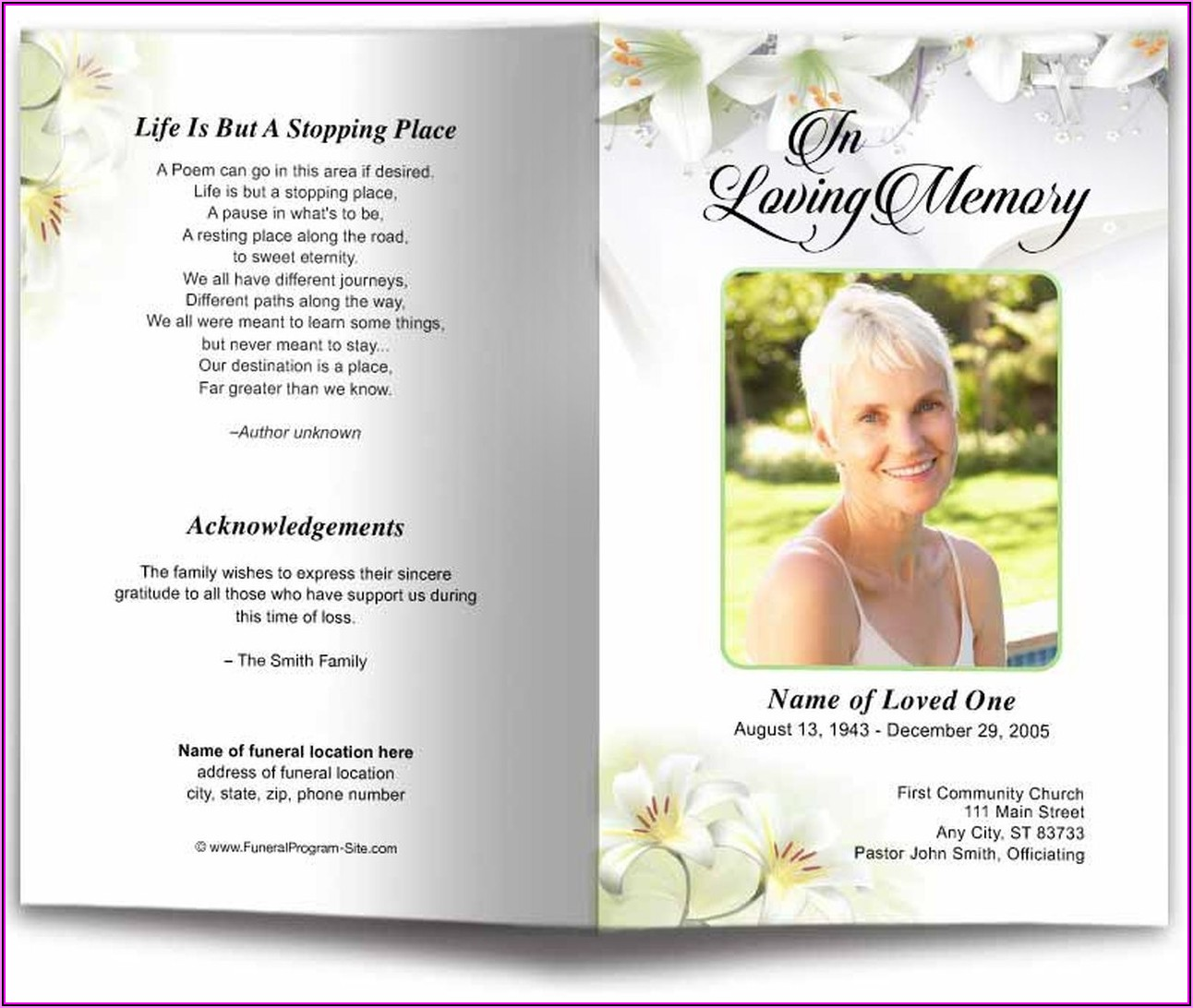 Memorial Service Booklet Template Word