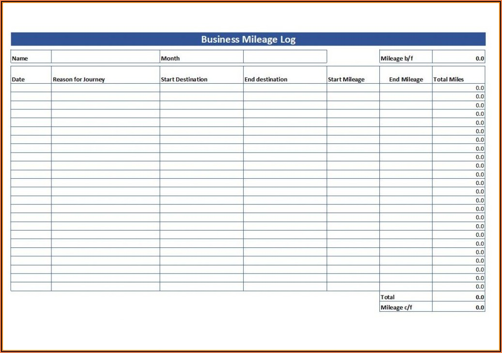 Mileage Tracking Form Pdf