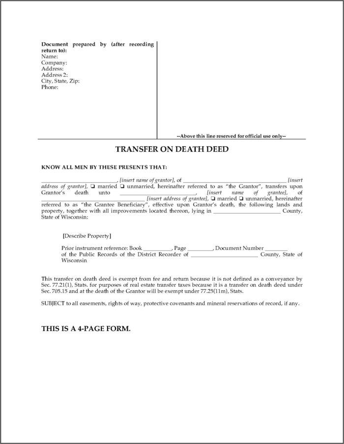 Missouri Transfer On Death Beneficiary Deed Form