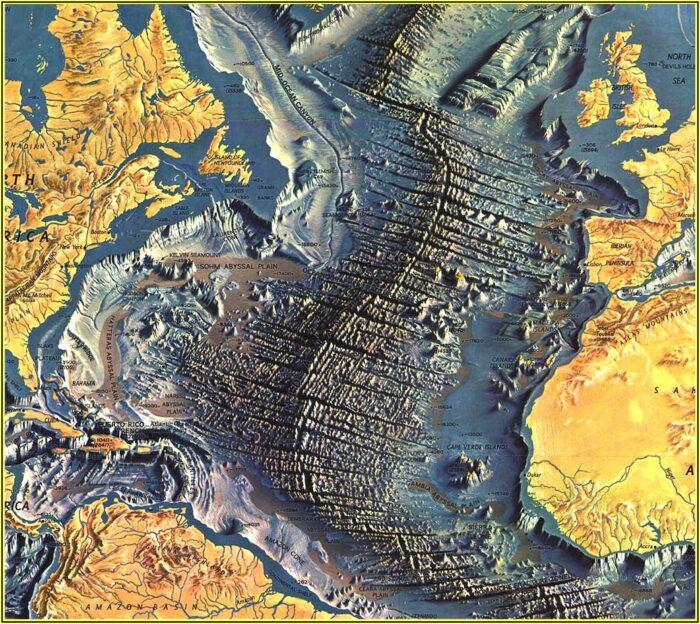 National Geographic Atlantic Ocean Floor Map