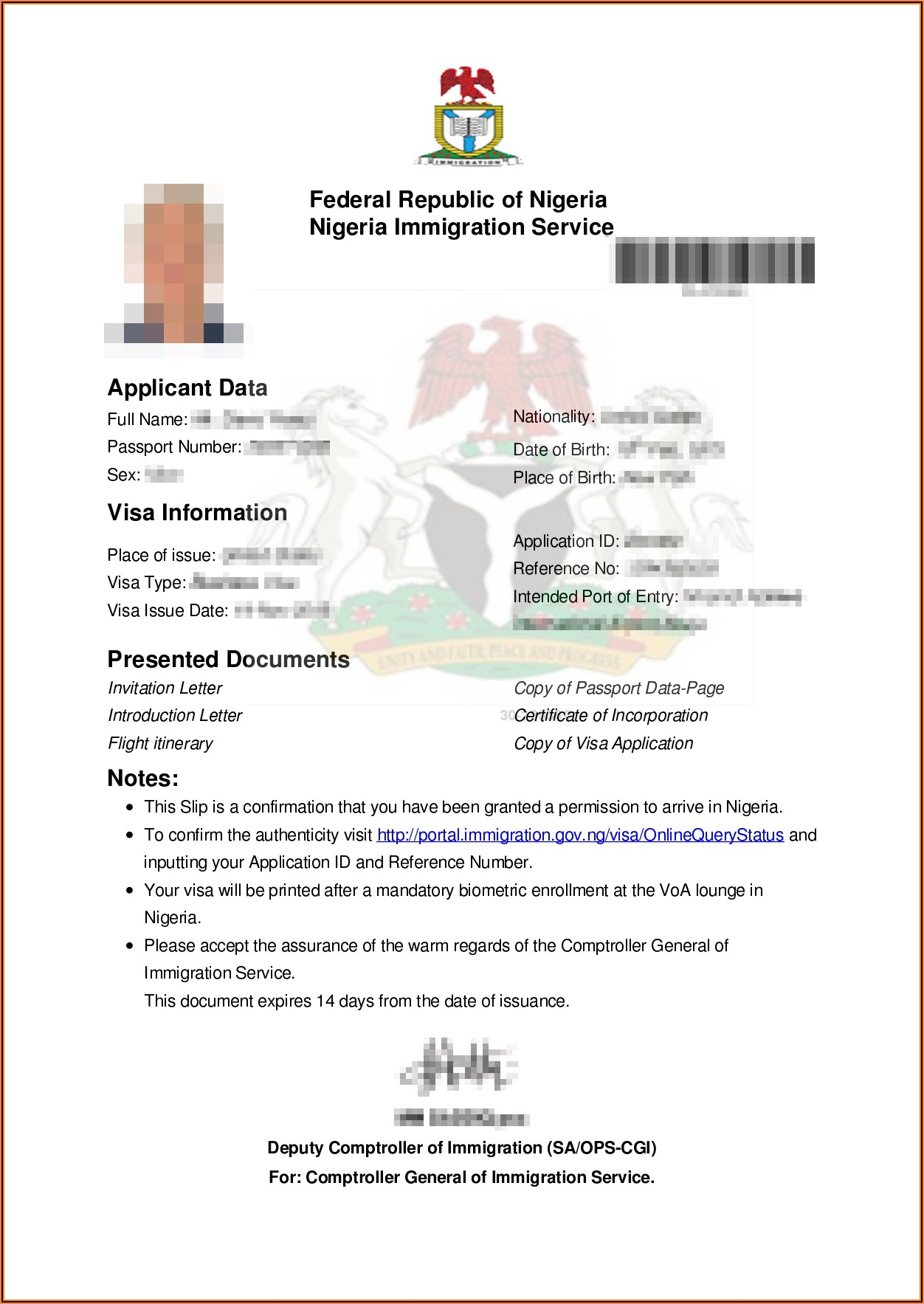 Nigeria Visa Application Form India