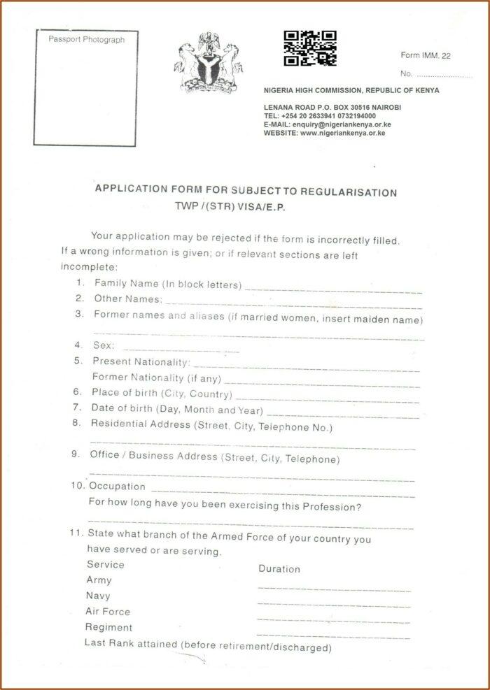 Nigeria Visa On Arrival Application Form