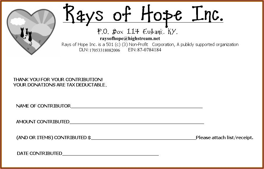 Non Profit Donation Receipt Form