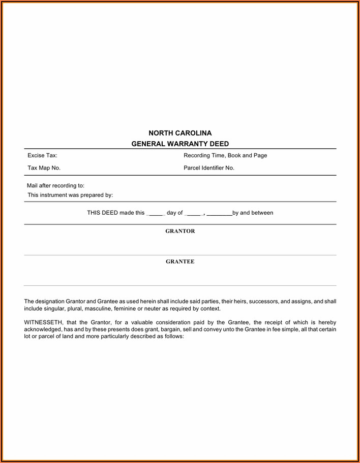 North Carolina General Warranty Deed Free Form
