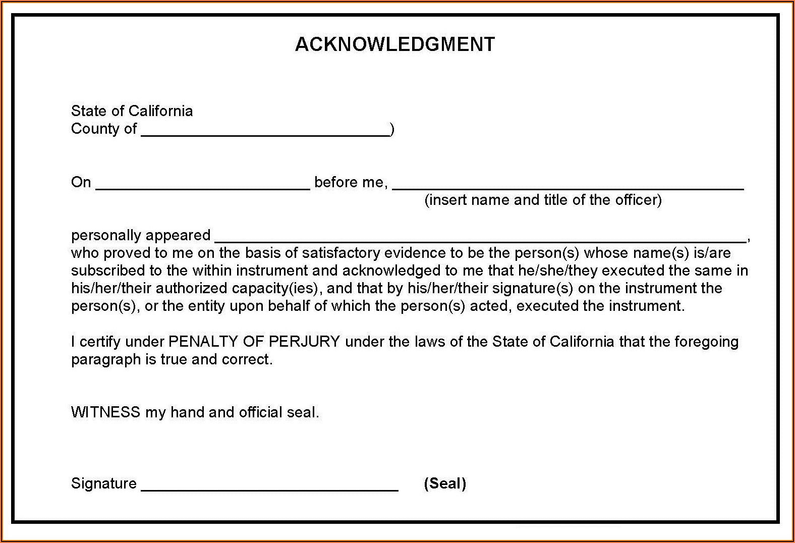 Notary Forms California 2019