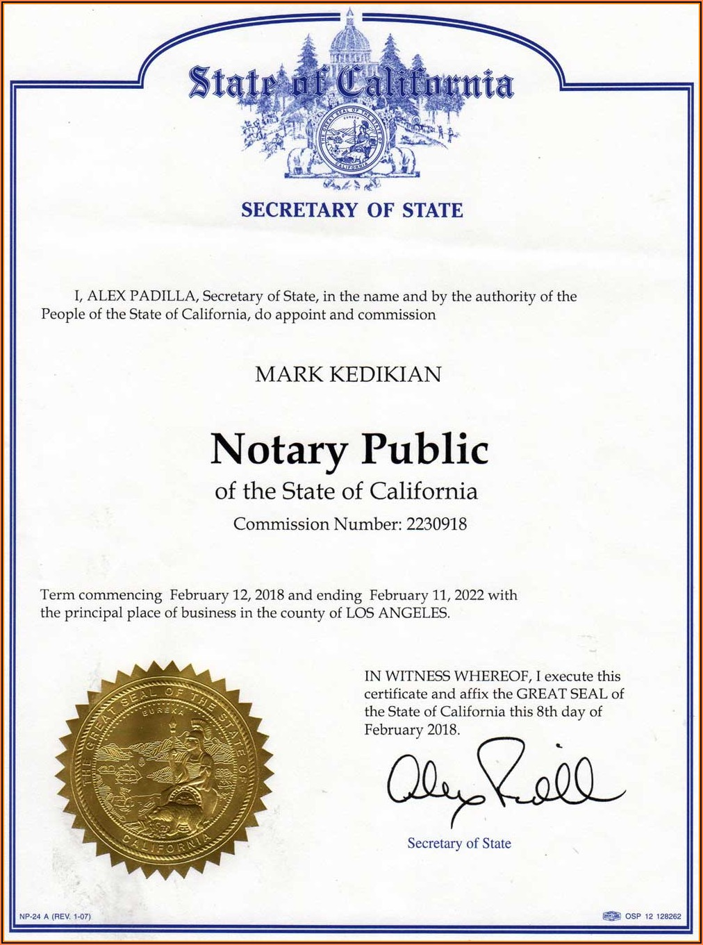Notary State California