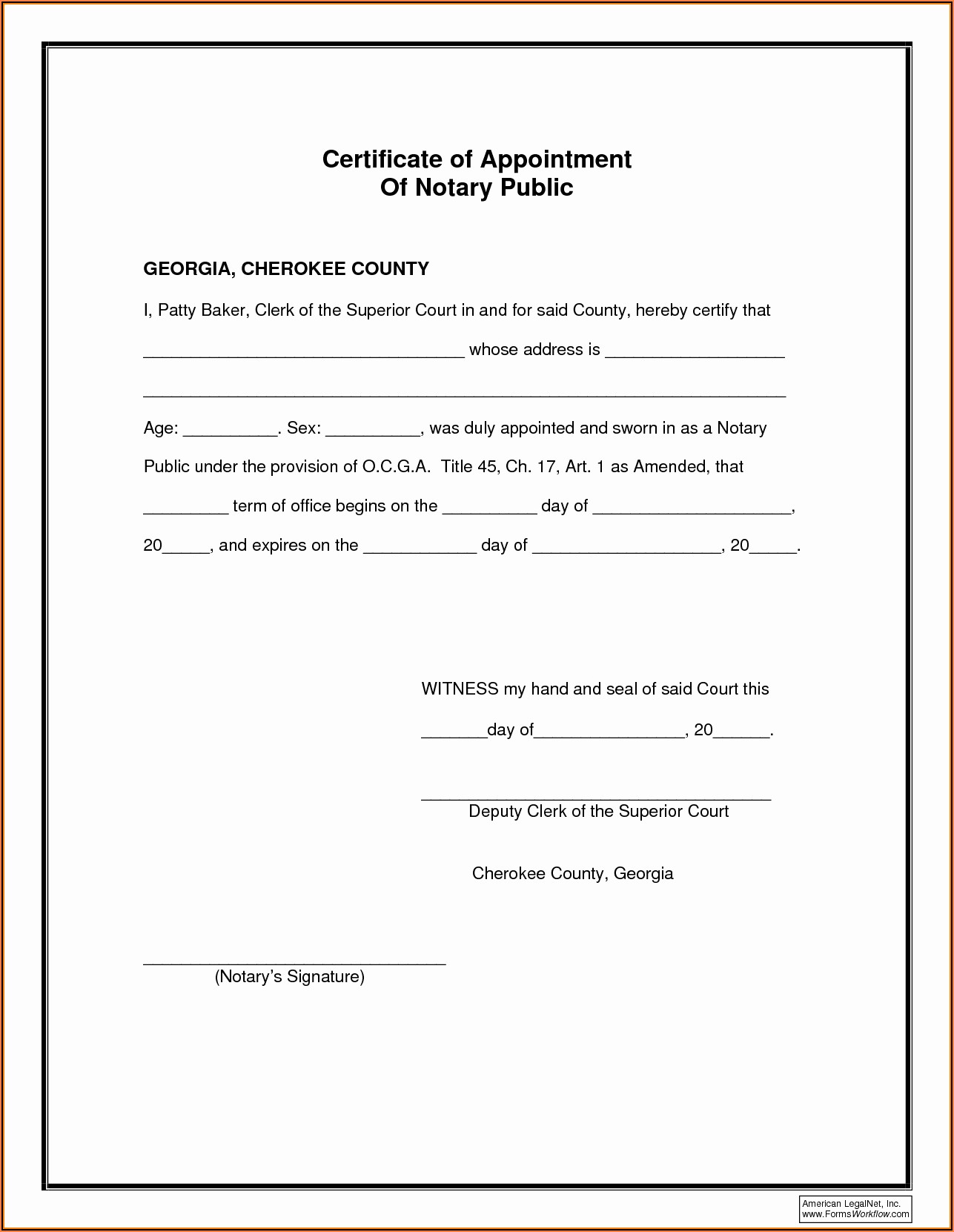 Notary Template Texas