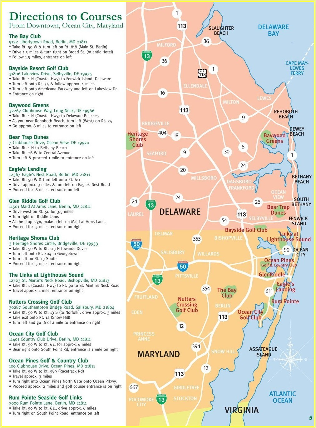Ocean City Md Golf Courses Map