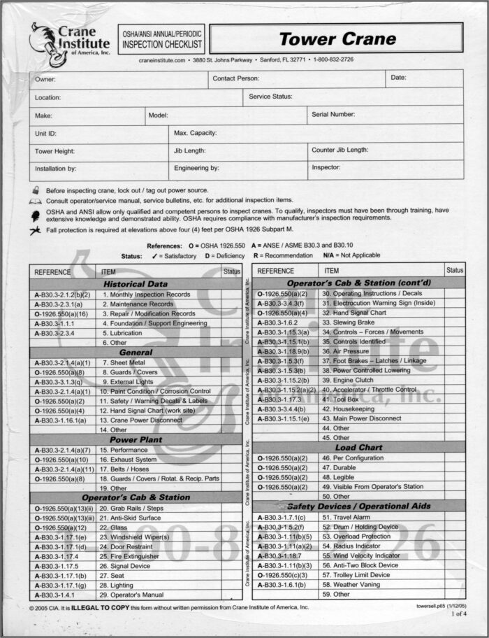 Osha Annual Crane Inspection Form