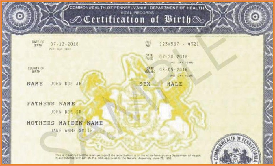 Pa Birth Certificate Replacement Forms