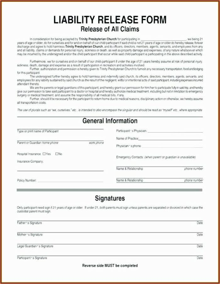 Personal Trainer Waiver Form Canada