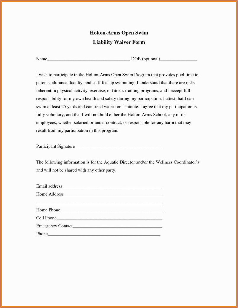 Personal Training Waiver Form