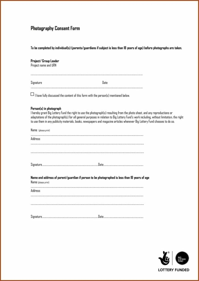 Photograph Consent Form Template