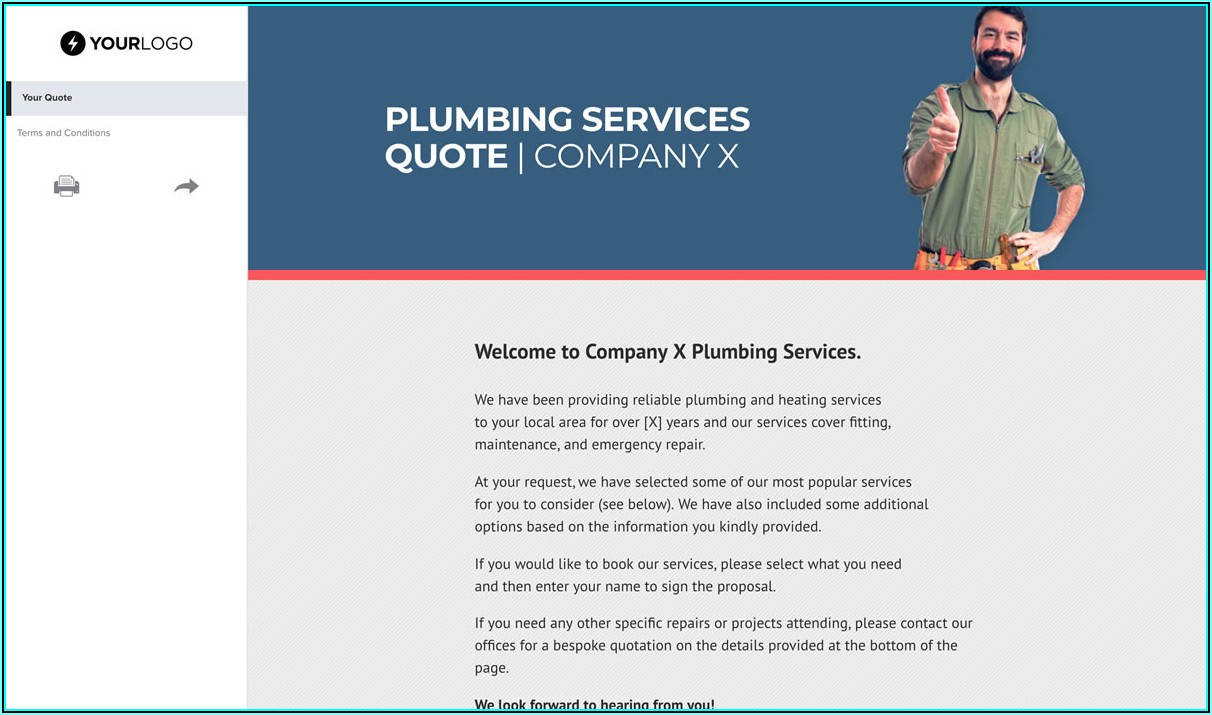 Plumbing Quotation Form Template