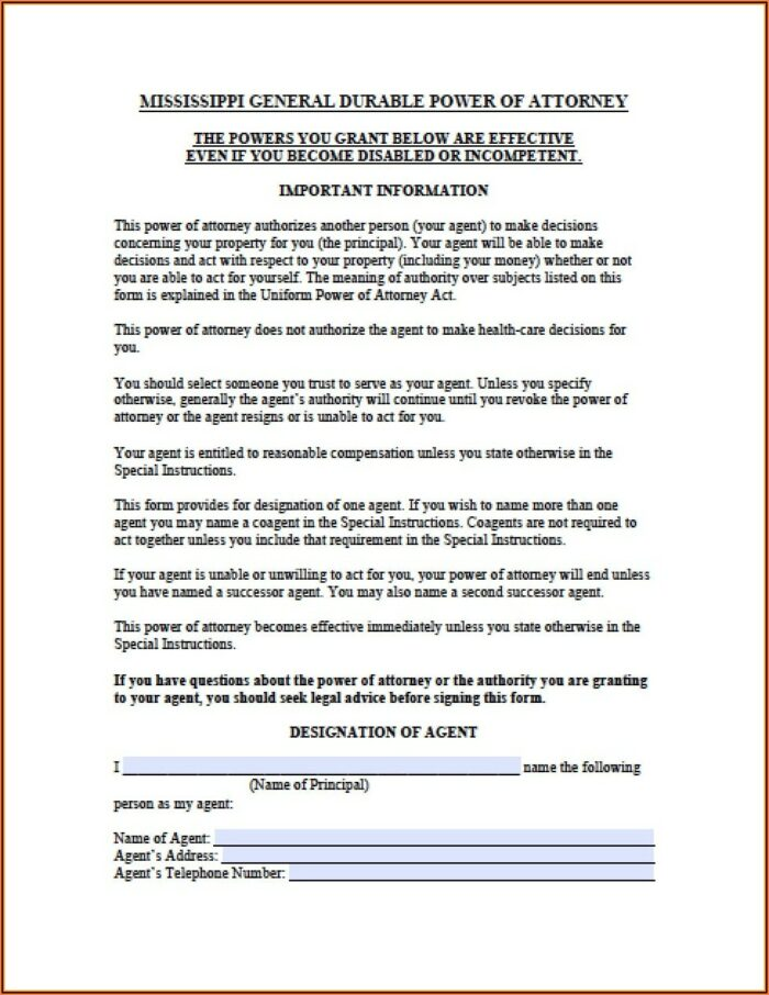 Power Of Attorney Form Free Printable Mississippi