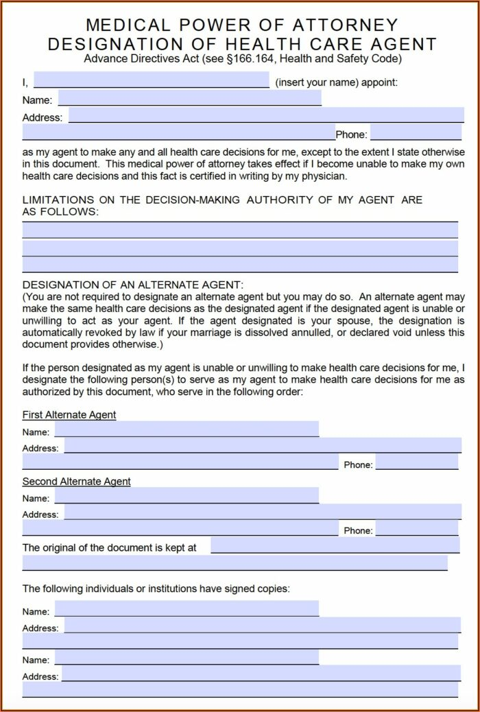 Power Of Attorney Form Free Texas