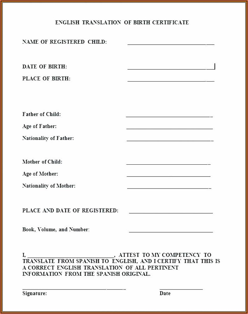 Printable Birth Certificate Translation Form Pdf