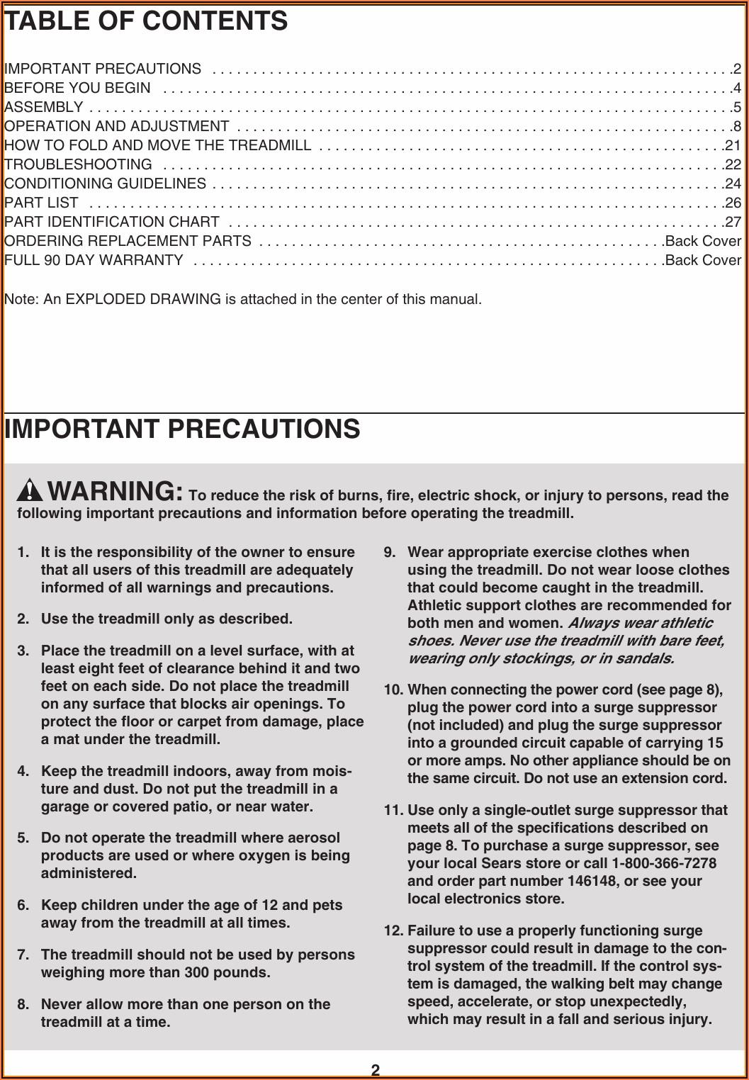 Proform Xp 542e Treadmill Manual