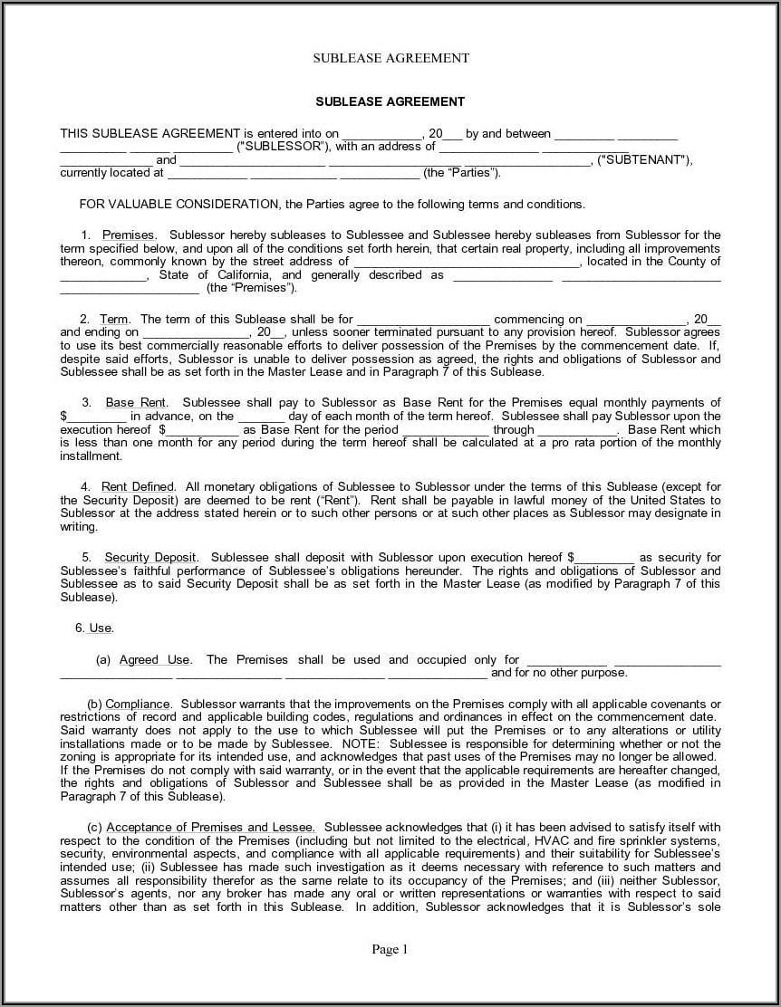 Rental Agreement Forms California Free Pdf