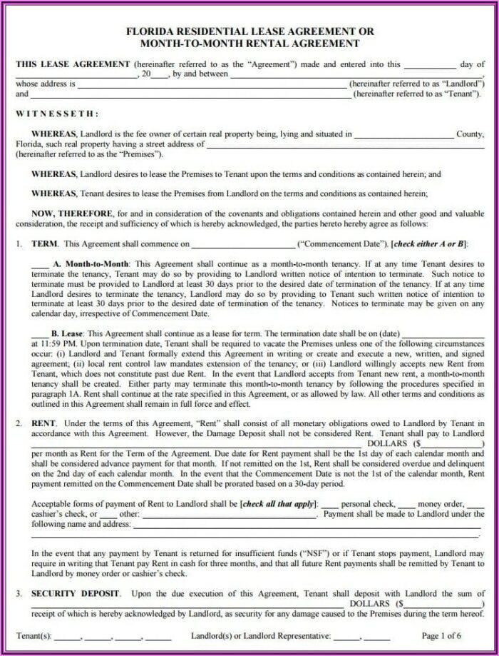 Rental Lease Agreement Fl Template