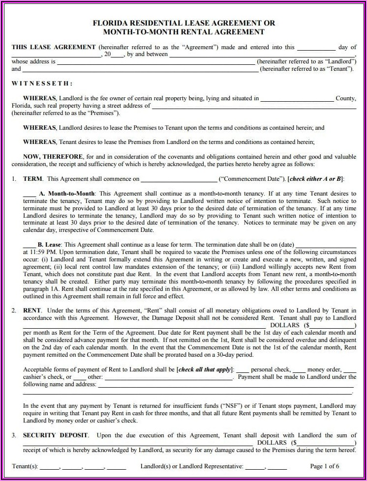 Rental Lease Agreement Fl Template