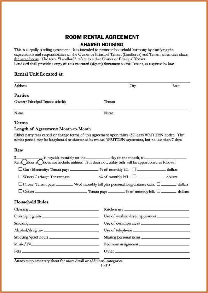 Residential Rental Agreement Form California