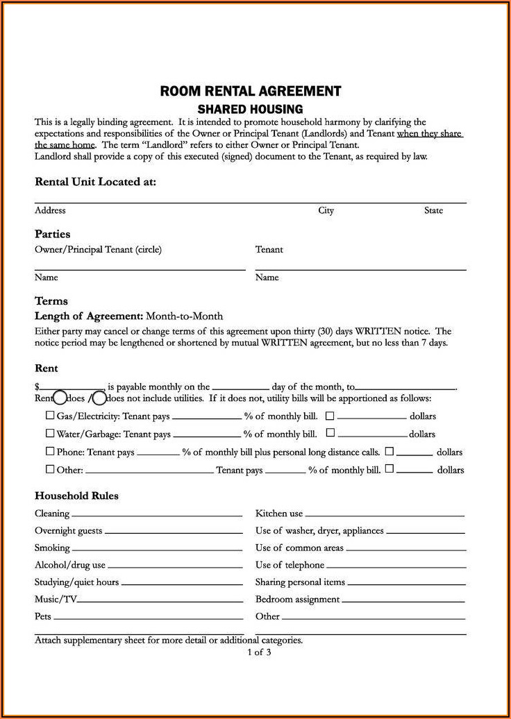 Residential Rental Agreement Form California