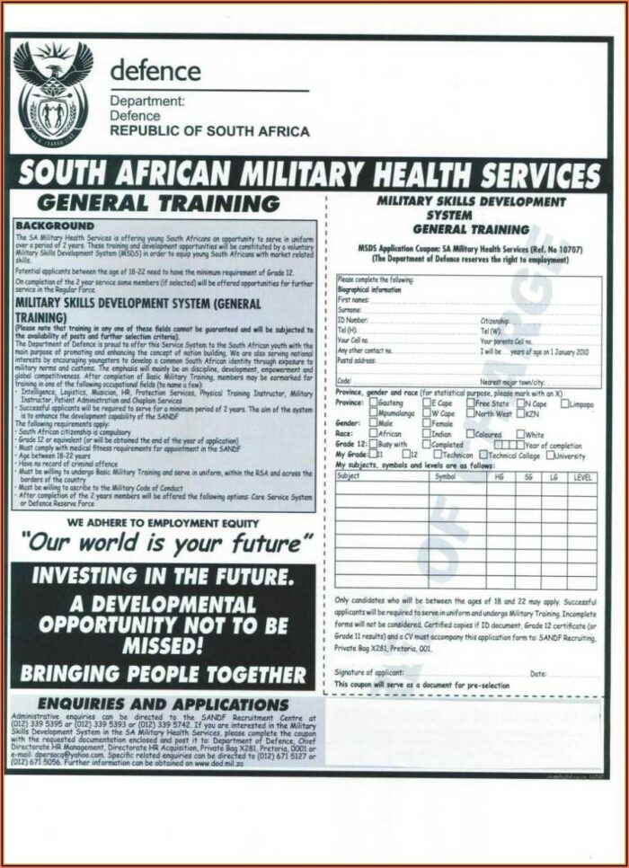 Sa Army Application Forms 2018 Apply Online