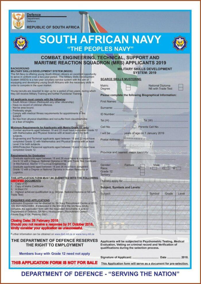 Sa Army Application Forms 2018 Pdf