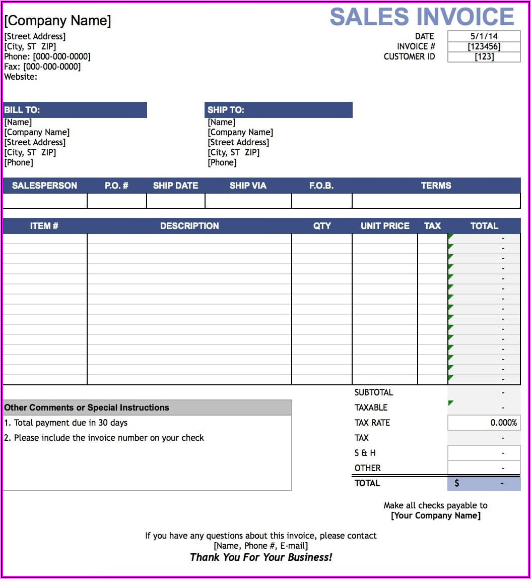 Sales Invoice Format In Word Free Download