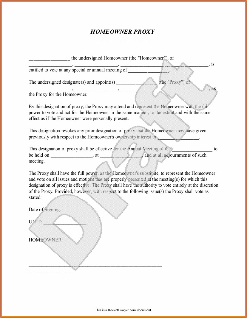 Sample Proxy Form For Homeowners' Association