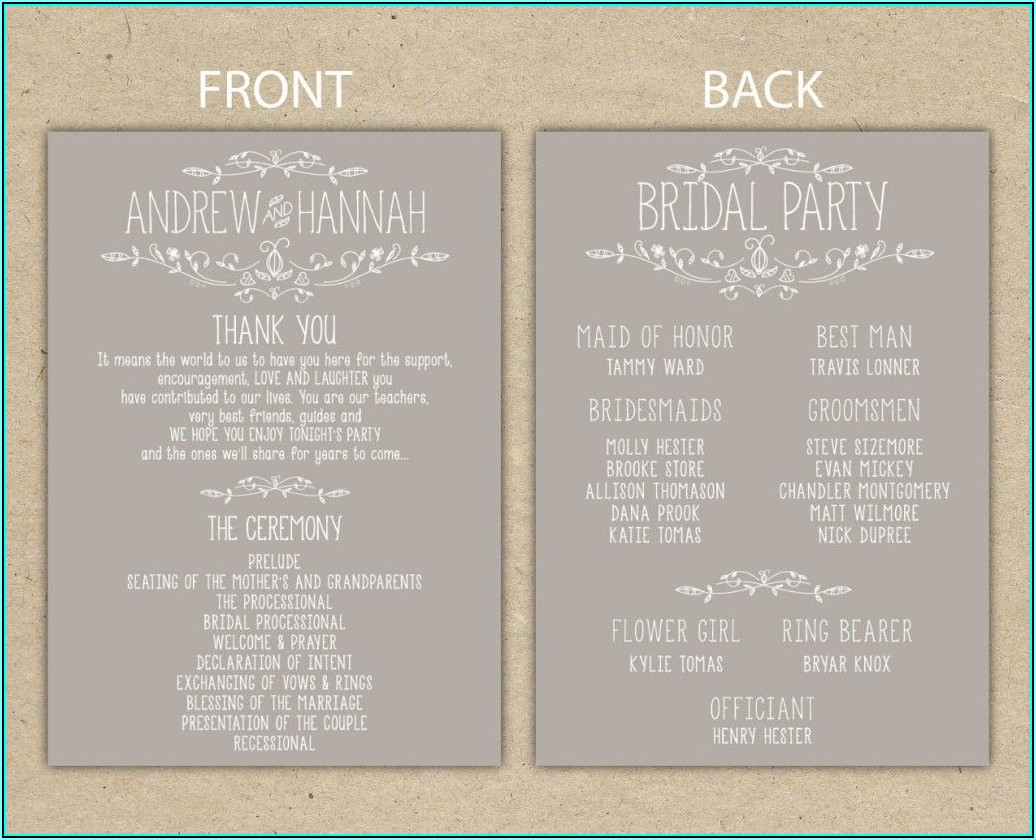 Sample Wedding Reception Program Template