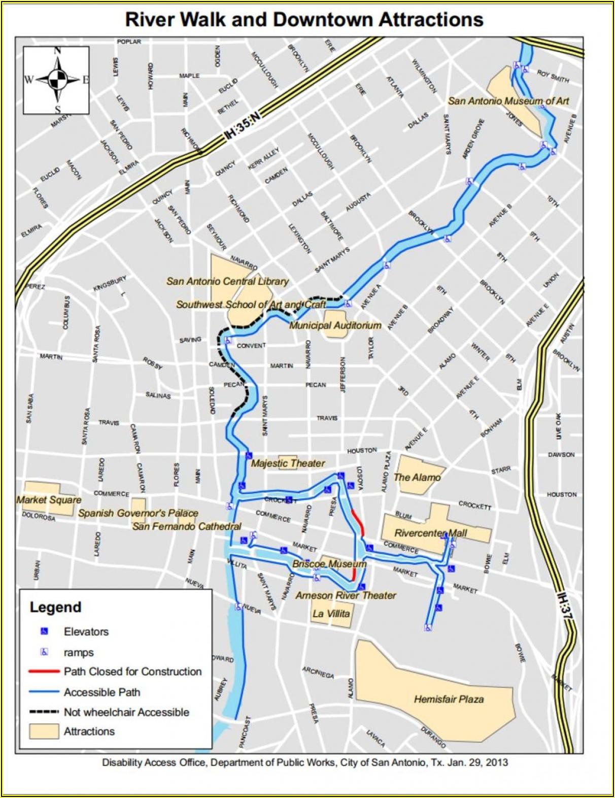 San Antonio Tx Riverwalk Hotels Map